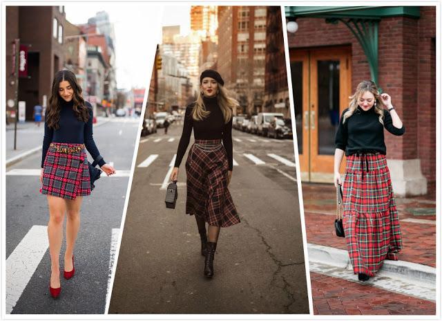 Plaid Skirt+ Turtleneck