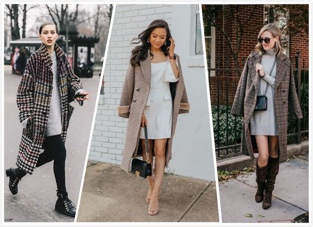 Plaid Coat+ Plain Dress