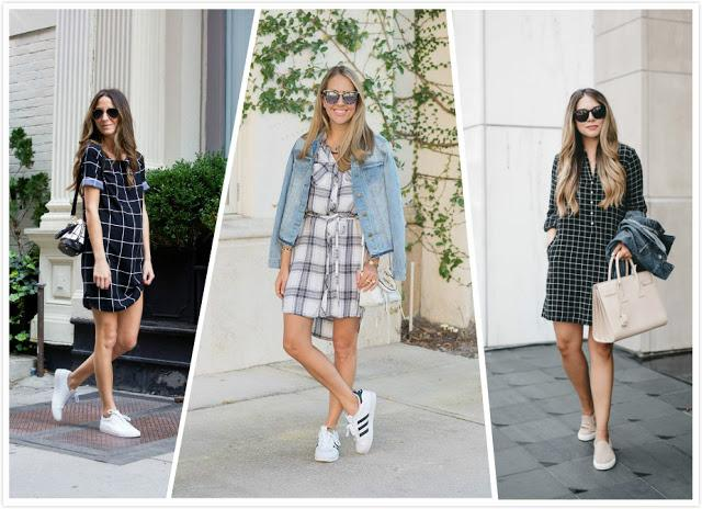 Plaid Shirt Dress and Sneakers